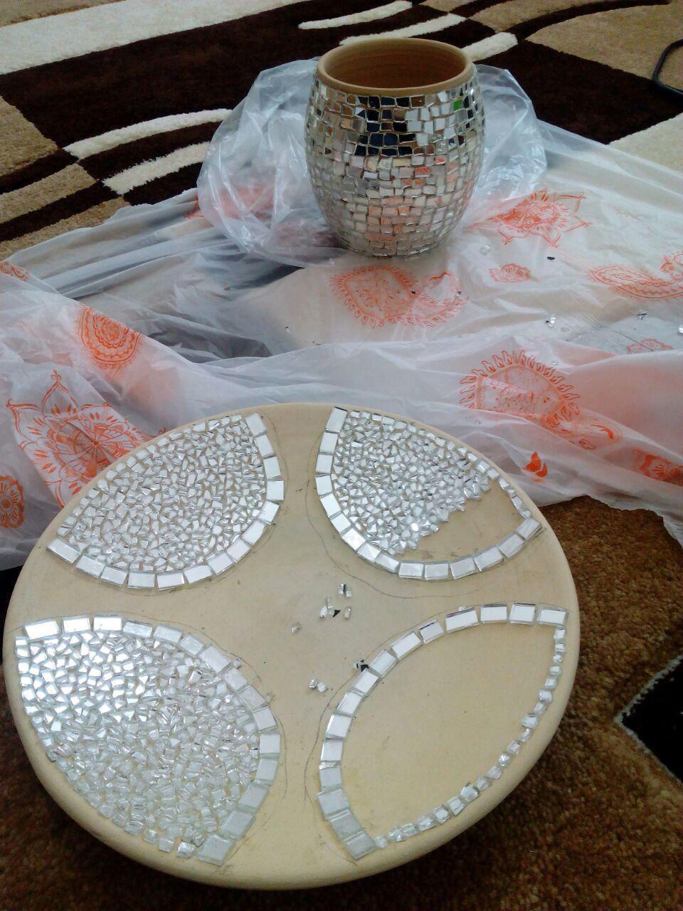 آموزش هنرهای دستی  , آموزش آینه کاری روی سفال + فیلم آموزشی | آینه کاری روی ظروف