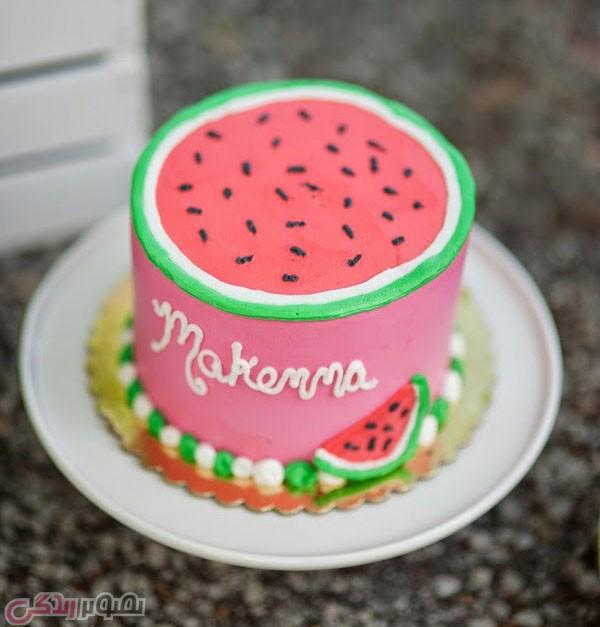تزیین کیک به شکل هندوانه, کیک هندوانه,دسر شب یلدا
