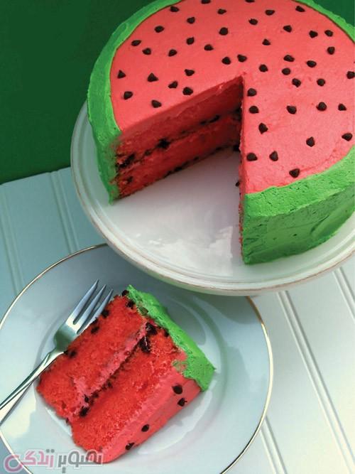 تزیین کیک شکل هندوانه, کیک هندوانه,کیک شب یلدا
