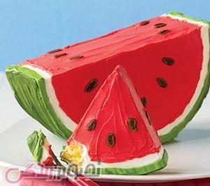 تزیین کیک شکل هندوانه, کیک هندوانه,دسر شب یلدا