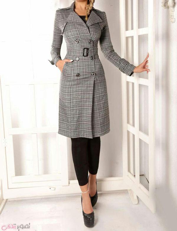 مدل پالتو زنانه طرح چهارخانه رنگ طوسی