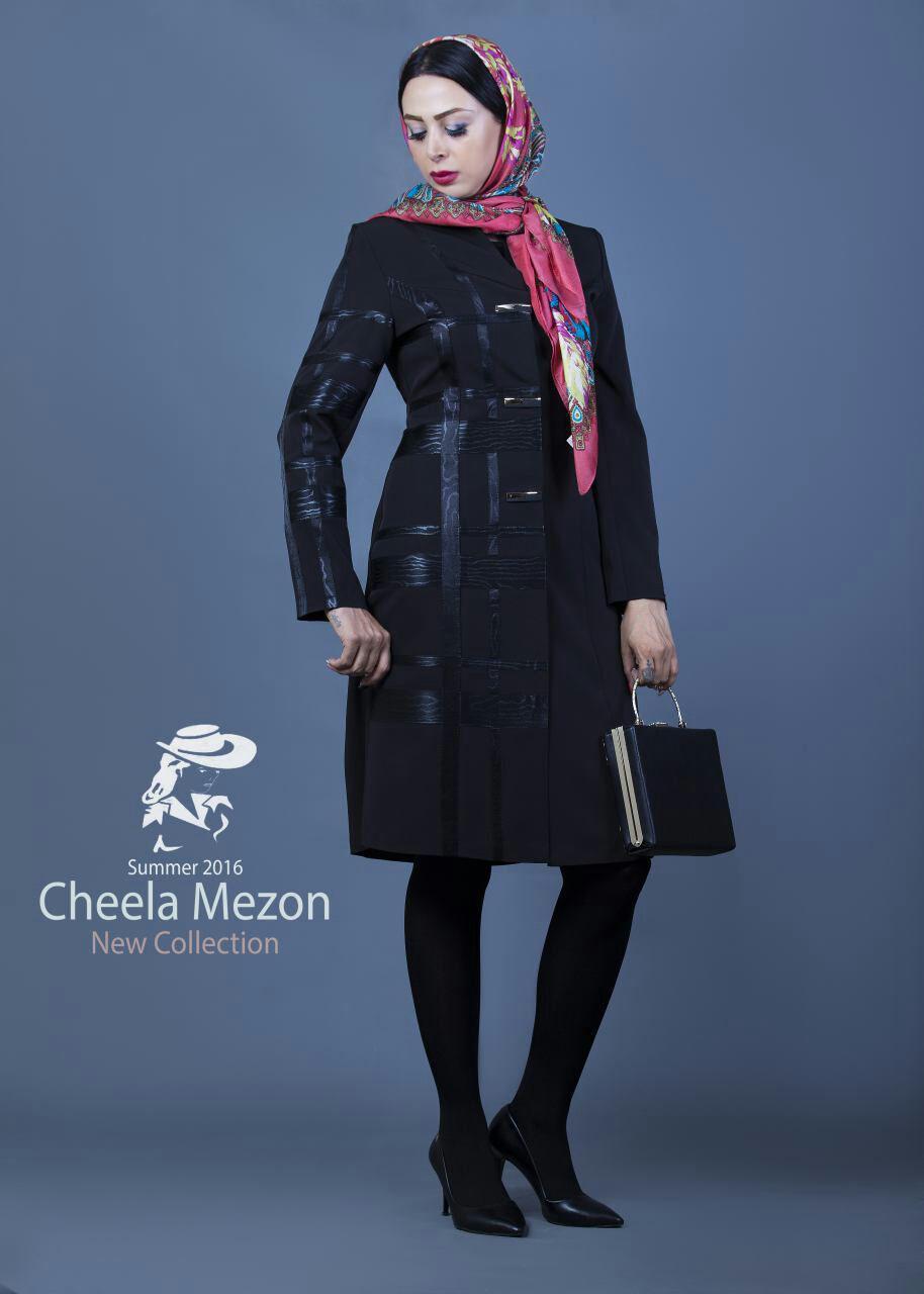 مدل مانتو  , گالری عکس مدل مانتو رسمی مزون چیلا | مدل مانتو مشکی مجلسی | مدل مانتو اداری مشکی