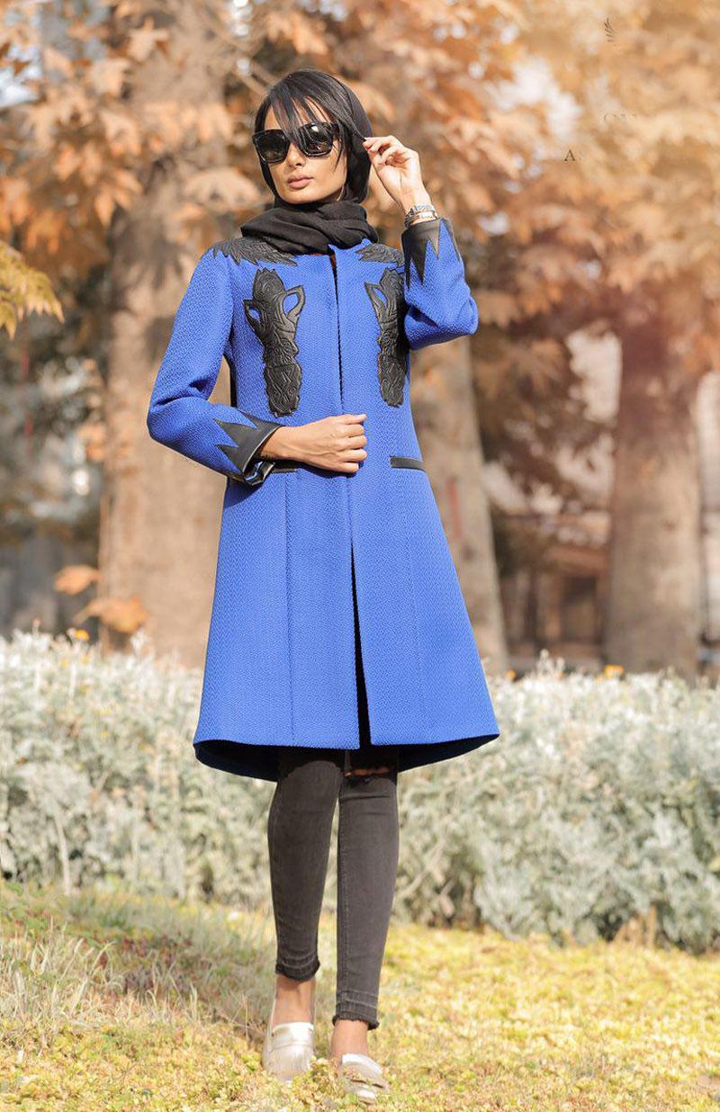 مدل مانتو مجلسی دخترانه پاییزی کاربنی رنگ