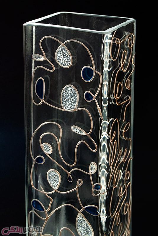 تزیین گلدان با ژل کریستالی  به روش ویترای