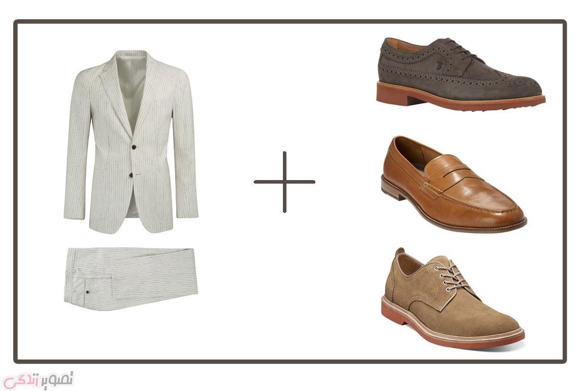 رنگ و نوع کفش مناسب برای کت و شلوار سفید راه راه