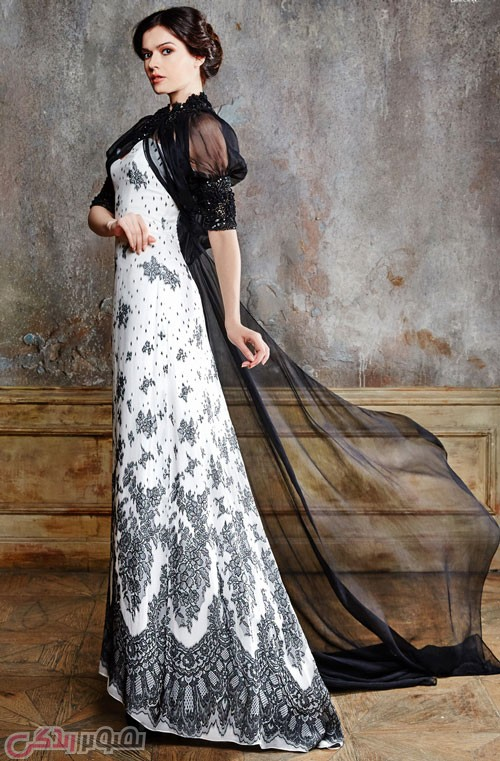 مدل لباس مجلسی شیک مشکی و سفید