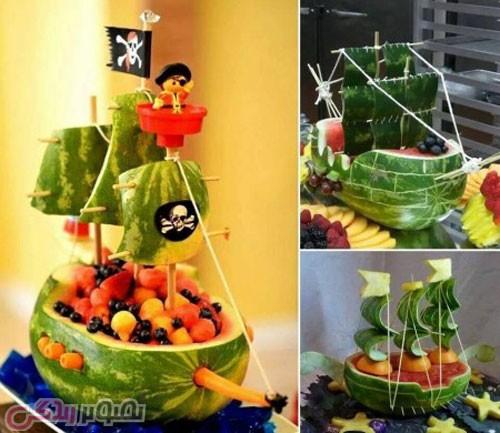 تزیین هندوانه شب یلدا به شکل کشتی