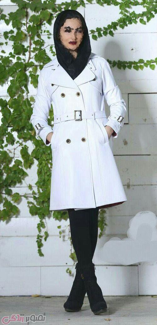 مدل جدید پالتو دخترانه , مدل پالتو سفید طرح بارانی