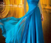 مدل لباس شب بلند آبی یک بندی