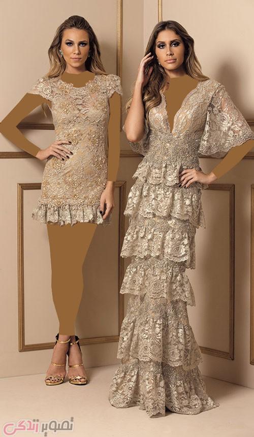 مدل لباس مجلسی بلند و کوتاه گیپور