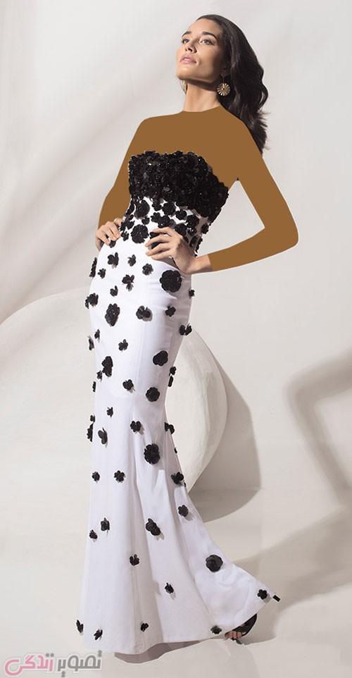 مدل لباس مجلسی بلند دکلته