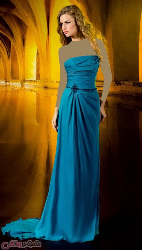 مدل لباس شب بلند آبی تیره دکلته