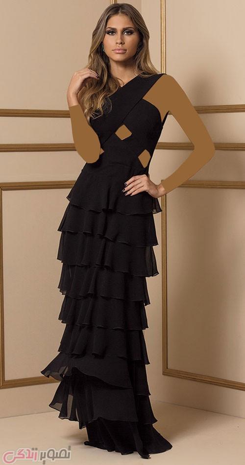 مدل لباس مجلسی بلند چند دامنه