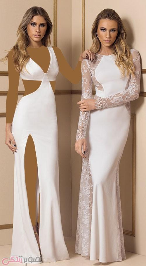 مدل لباس مجلسی بلند سفید