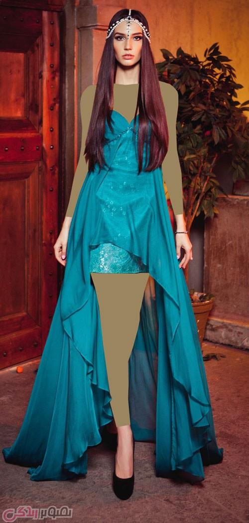 لباس مجلسی کوتاه آبی کاربنی مدل لباس مجلسی , مدل پیراهن شب