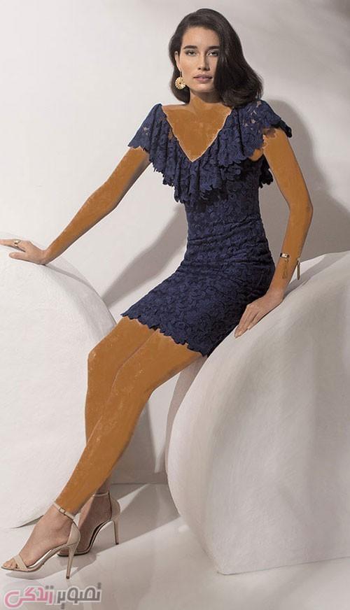 مدل لباس مجلسی کوتاه والان دار