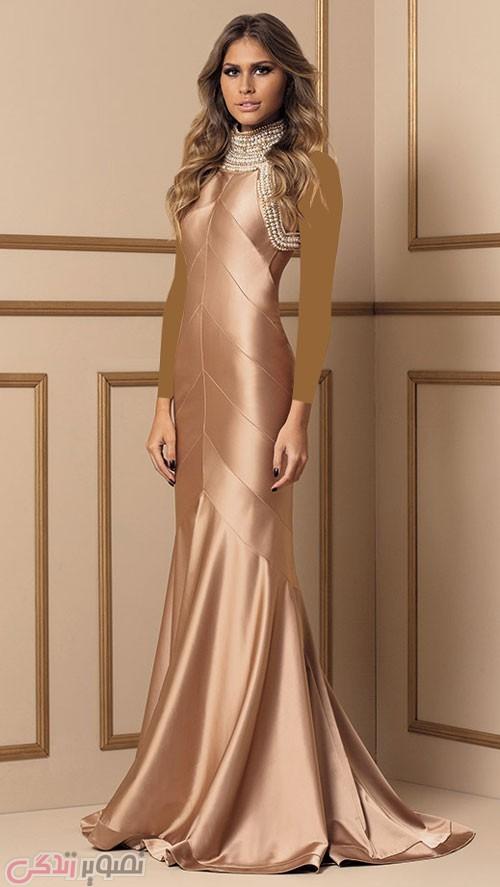 مدل لباس مجلسی بلند ساتن