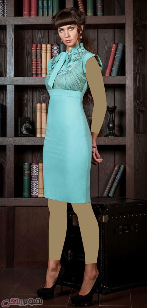 مدل لباس شب آبی کوتاه یک بندی