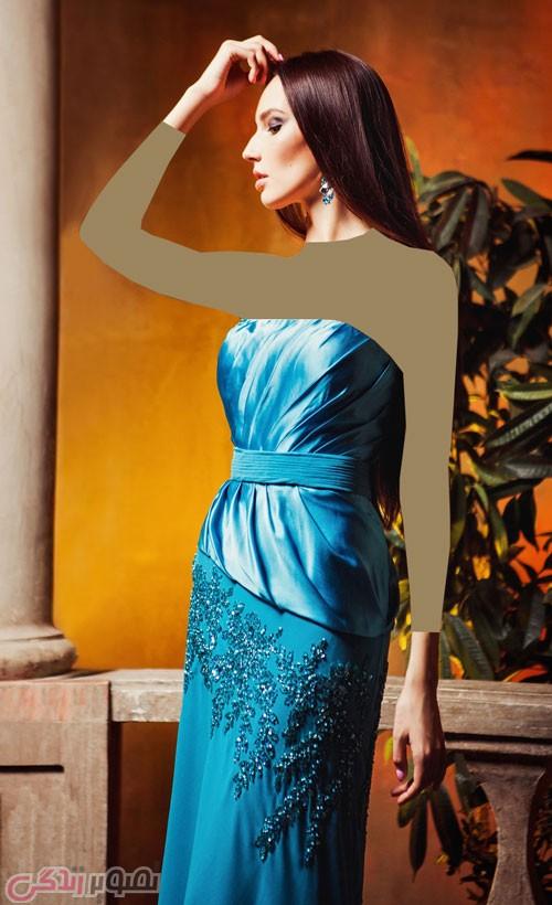 مدل لباس شب بلند آبی دکلته