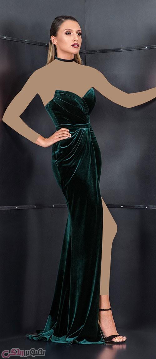 لباس مجلسی مخمل قرمز شیک مدل لباس مجلسی مخمل cristallini • مدل لباس شب جدید امسال ...