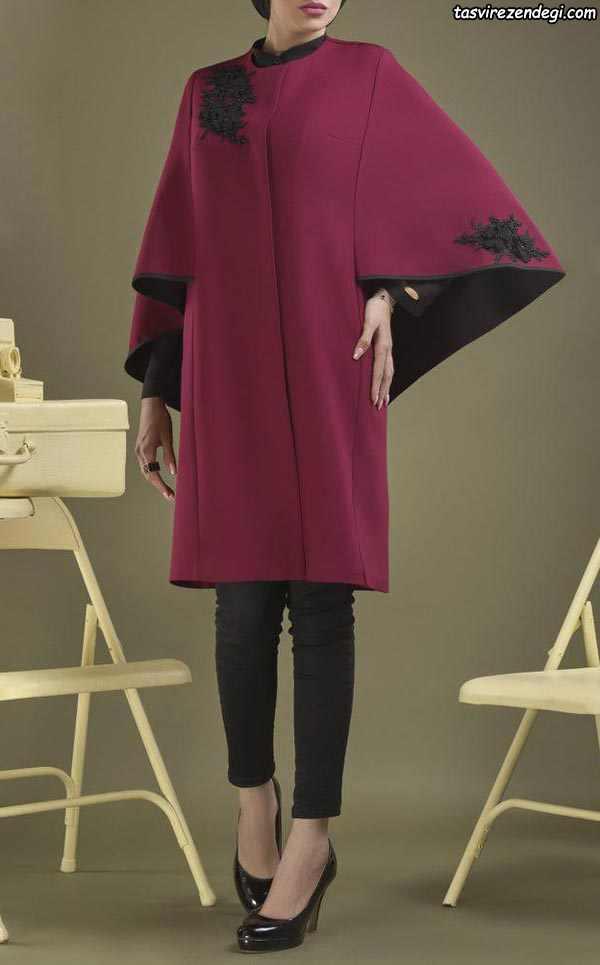 مدل مانتو زمستانی فوتر زرشکی شنل دار