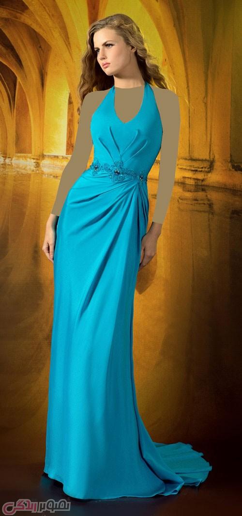 مدل لباس شب بلند آبی دو بندی