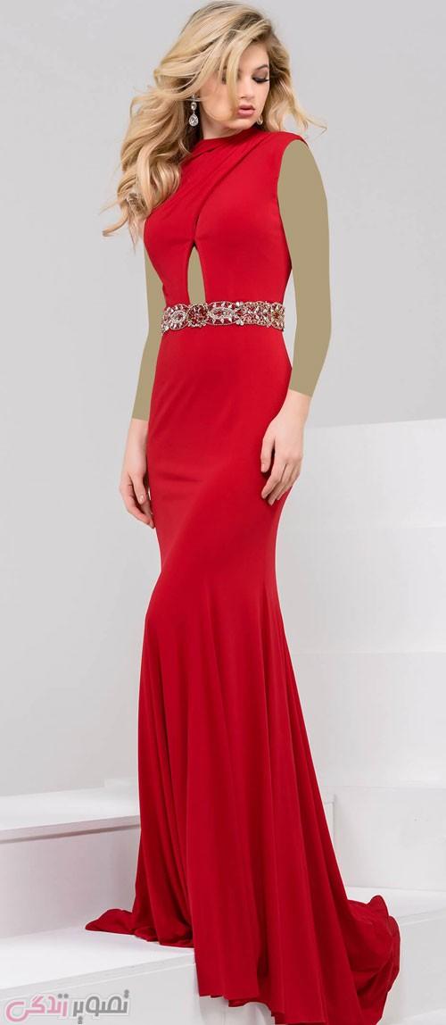 لباس مشکی مدل ماهی پیراهن بلند مجلسی زنانه رنگ قرمز