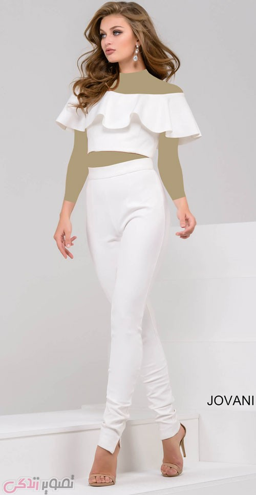 مدل لباس مجلسی سفید با شلوار