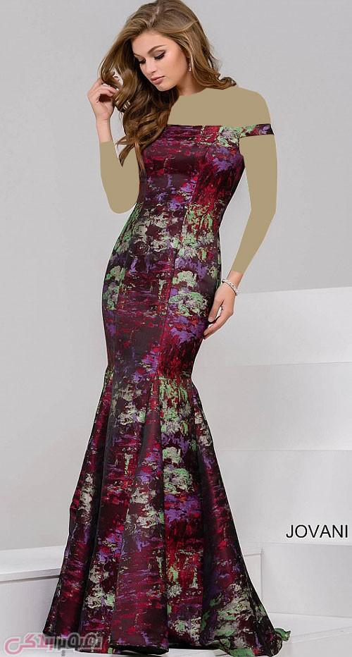 مدل لباس مجلسی گلدار بلند