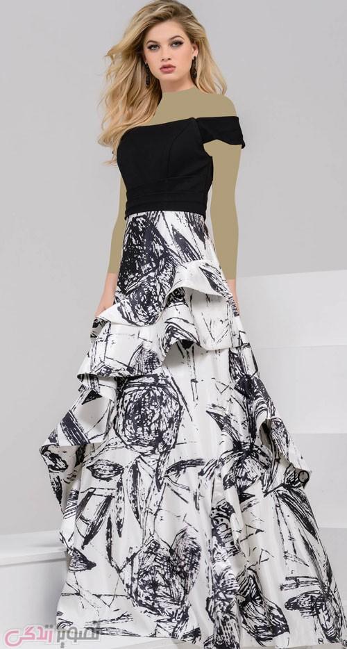 مدل لباس مجلسی سفید و مشکی
