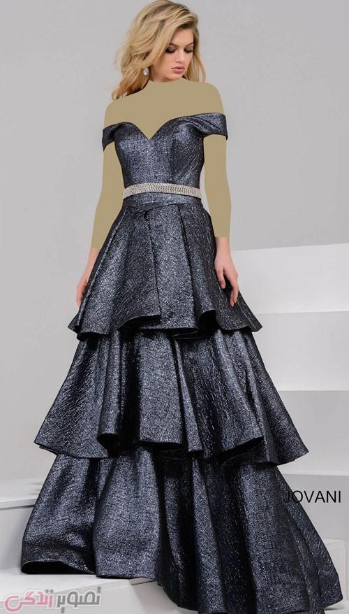 مدل لباس مجلسی بلند سه دامنه