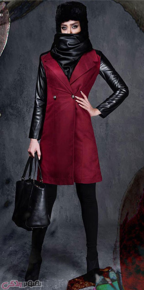 مدل مانتو زمستانی زنانه قرمز و مشکی