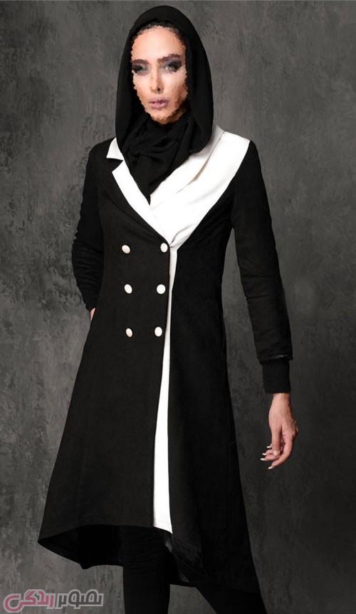 مدل مانتو مجلسی زمستانی سفید و مشکی
