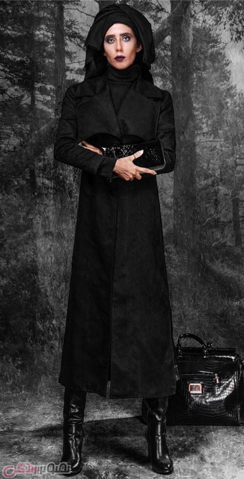 مانتو بلند مشکی , مدل مانتو زمستانی زنانه