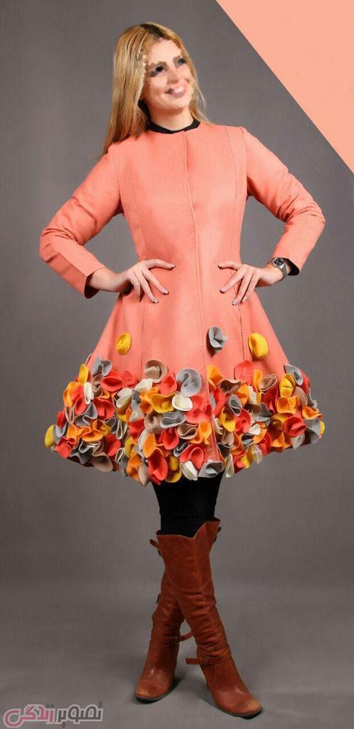 مدل مانتو مجلسی زمستانی رنگی گل برجسته