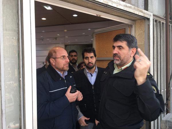 حضور قالیباف شهردار تهران در محل حادثه آتشسوزی ساختمان پلاسکو