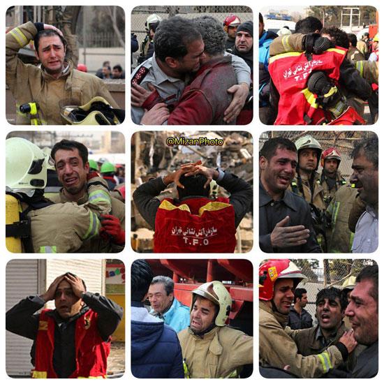 آتش نشانان داغدار پس از شهادت همکارانشان