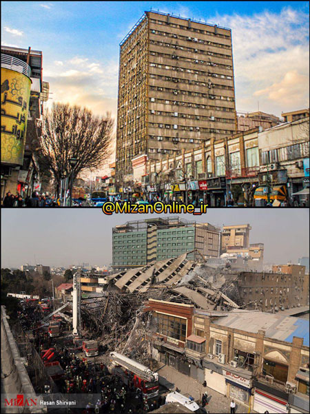 ساختمان پلاسکو قبل و بعد از تخریب