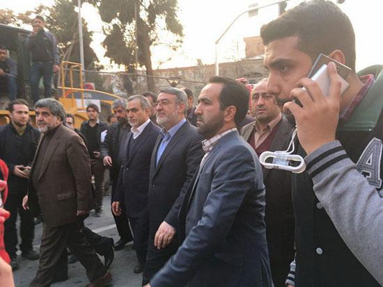 وزیر کشور و برادر روحانی در محل ریزش پلاسکو