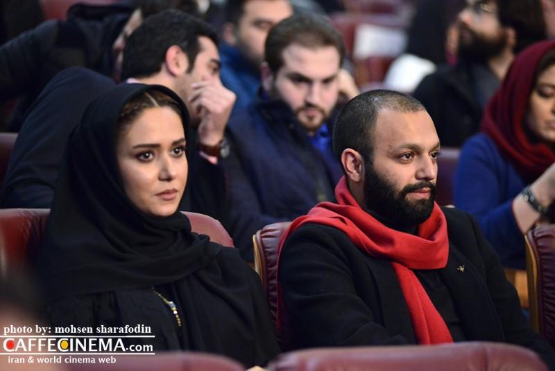 عکس صابر ابر و پریناز ایزدیار در افتتاحیه سی و پنجمین جشنواره فیلم فجر