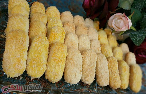 نان، شیرینی، دسر  , طرز تهیه شیرینی مونت کارلو شیرینی نارگیلی برای عید نوروز
