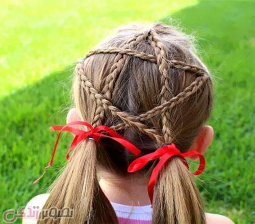 عکس مدل موی دخترانه بافت ستاره