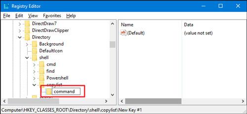 کپی لیست فایل های یک پوشه