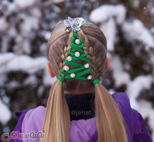 آموزش بافت موی دخترانه کریسمس