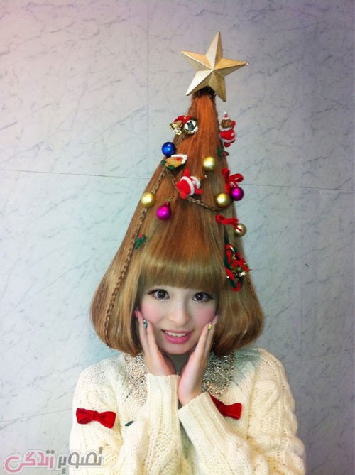 مدل مو به شکل درخت کریسمس