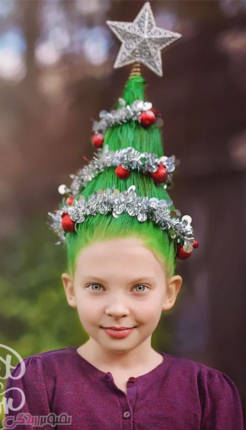 مدل مو به شکل کاج کریسمس