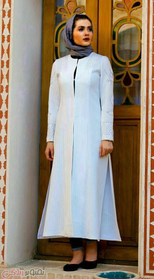 مدل مانتو مجلسی زمستانه سفید بلند