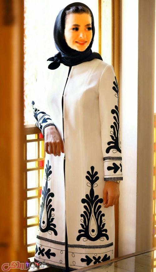 مدل مانتو مجلسی زمستانه سفید مشکی
