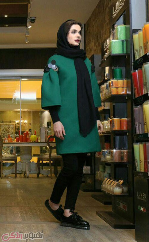 مدل مانتو مجلسی زمستانه پشمی سبز