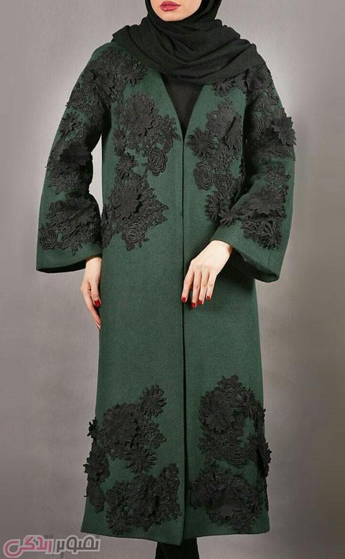 مدل مانتو مجلسی زمستانه سبز و مشکی